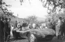 "JAGUAR D Type KDB 100 Peter Blond  paddock at Prescott late 50s .10x7""am' photo"